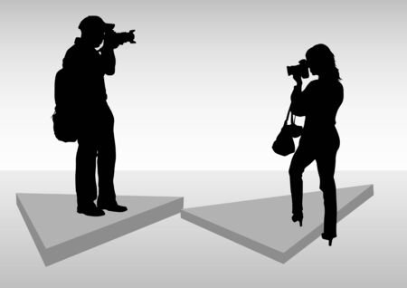 photographing:  image of young photographers with equipment at work Illustration