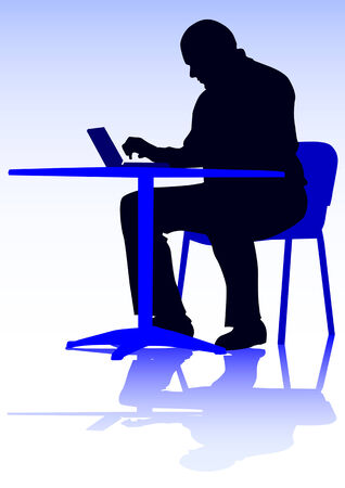 work places:  drawing of a man with a personal computer. Silhouette on people Illustration