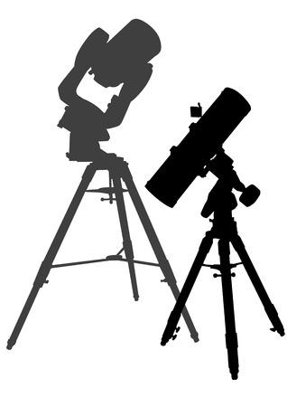 telescopic:  dibujo de dos telescopios sobre tr�podes Vectores