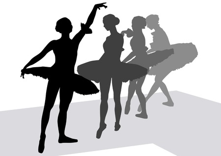 drawing of ballerinas dancing on stage Stock Vector - 6788107