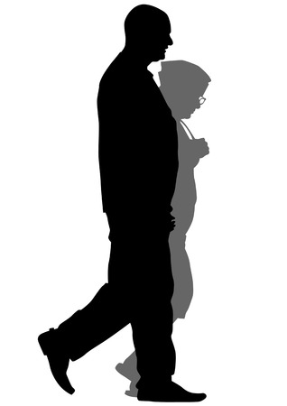 senior adult:  drawing a pair of elderly people on a stroll Illustration