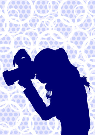 image of young women photographers with equipment at work Vector