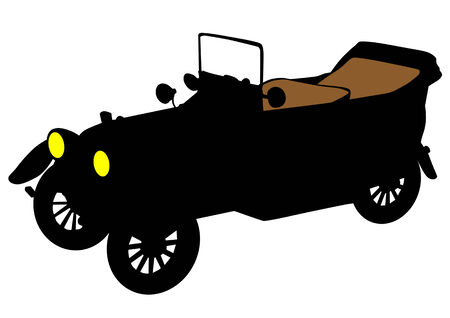 image of antique cars. Silhouettes on white background Vector