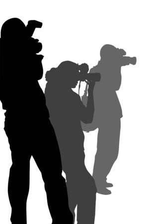 paparazzi: image of three photographers with equipment at work