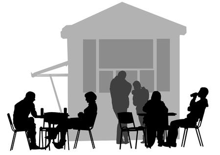 urban life: dibujo personas en caf�s. Siluetas de personas en la vida urbana