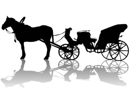 carriage: disegno di trasporto e cavalli. Silhouette su sfondo bianco