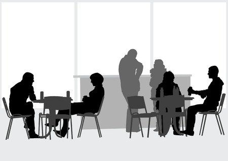 cafe table: drawing people in cafes Illustration