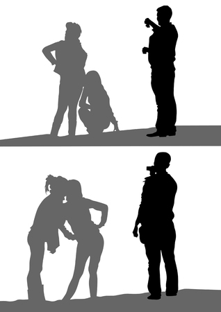 image of photographer and models. Silhouettes of a white background Vector