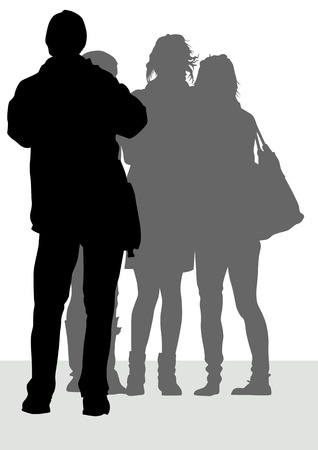 image of photographer and girls during travel Vector