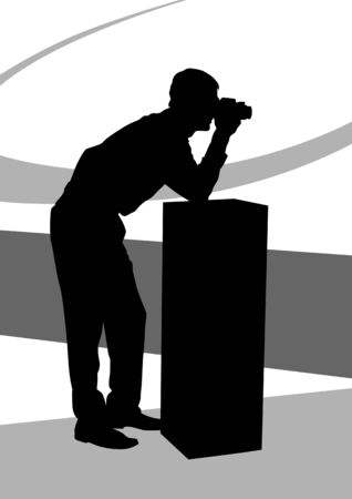 image of young man photographers with equipment at work Vector