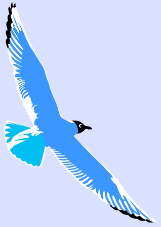 drawing of sea birds. Seagulls on sky Vector