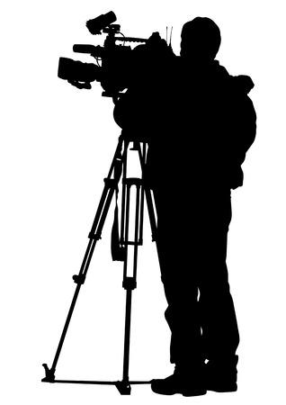 multitudes de espectadores y cámaras de televisión de dibujo