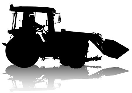 grader: drawing of a tractor for construction work. Silhouette on white background Illustration