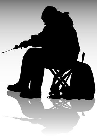 canna pesca: disegno pescatore con una canna da pesca durante la pesca inverno Vettoriali