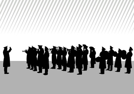drawing of a military band on parade Vector