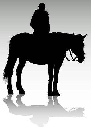 drawing of a young girl on horseback Vector