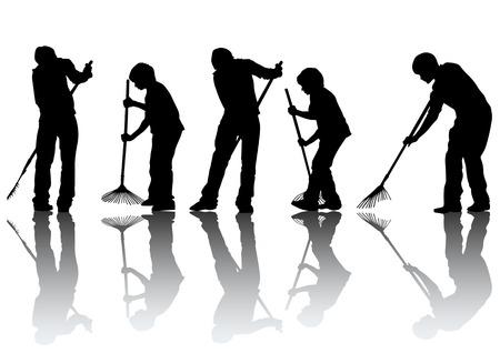 cleaner vacuuming: image of man, sweeping leaves