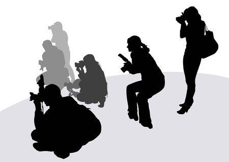 image of people photographers with equipment at work Vector