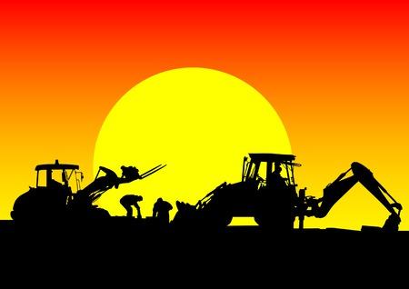 dessin d'un tracteur pour les travaux de construction. Silhouette sur le coucher du soleil Vecteurs