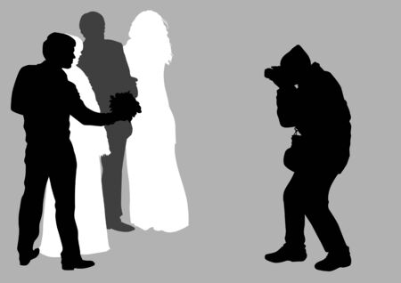 drawing of photographers at a wedding Vector