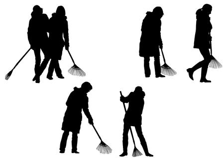 sweeping: image of women, sweeping leaves