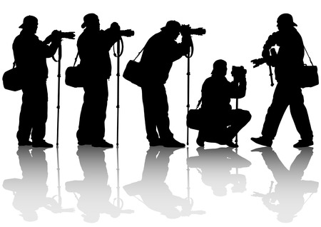paparazzi: image of the professional photographer with a camera on a monopod Illustration