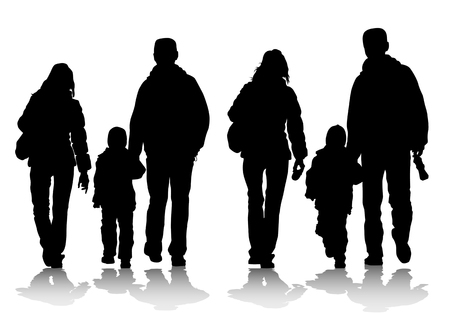 drawing families with a child for a walk Vector