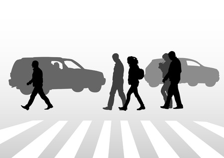 drawing of people on street. Silhouettes of people, on street Vector