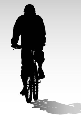 drawing silhouettes cyclists in competition Vector
