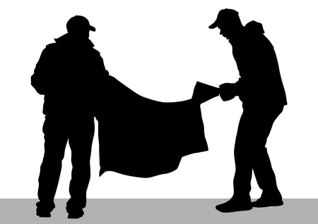 demonstrator: drawing demonstrator with banner Illustration
