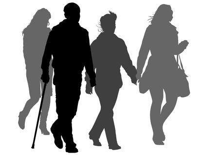 physical impairment: graphic disabled and women on a walk. Silhouettes on a white background Illustration