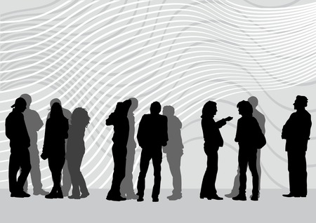 casual business team: drawing of people on street. Silhouettes of peopl&aring, on street