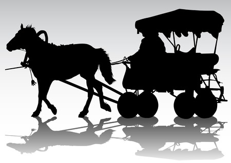 drawing carriage and horses Vector