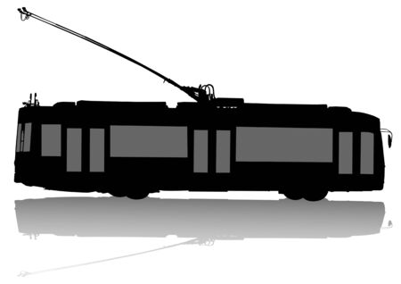 motor coach: drawing of urban municipal transport. Modern trolleybus Illustration
