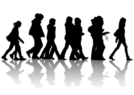 business people walking: drawing of pedestrians on the street. Silhouettes of people