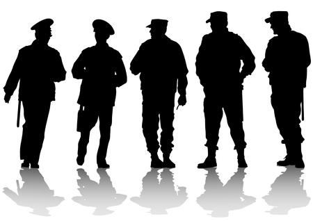 police arrest: immagine della polizia sulla strada durante Vettoriali