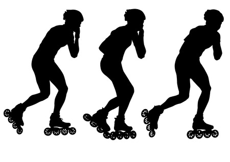 roller skate: drawing  athletes on skates. Silhouette people