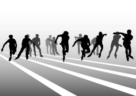 schaatsen: teken atleten op rol schaatsen. Silhouet mensen
