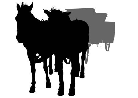 drawing arriage and horses Vector
