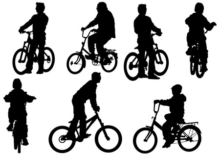 drawing bicycle children races leisure Vector