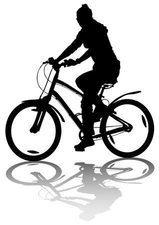 bicycle girl: drawing bicycle girl races leisure