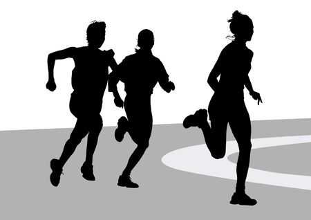 activity exercising: drawing running athletes women on competition Illustration