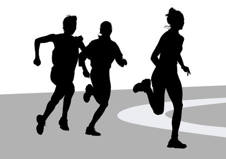 plano ejecutando a los atletas las mujeres sobre la competencia