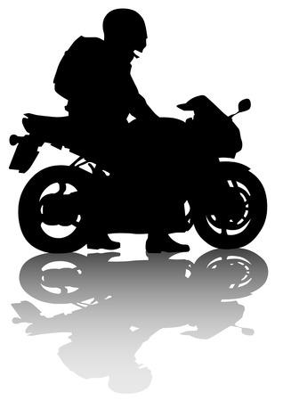 silueta moto: dibujo motociclista en carretera. Silueta sobre un fondo blanco