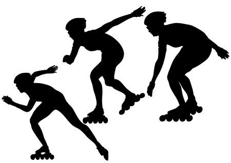 roller: dibujo de los atletas en patines. Personas de silueta