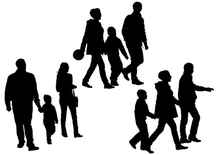 group travel: drawing parents and children. Silhouettes of people Illustration