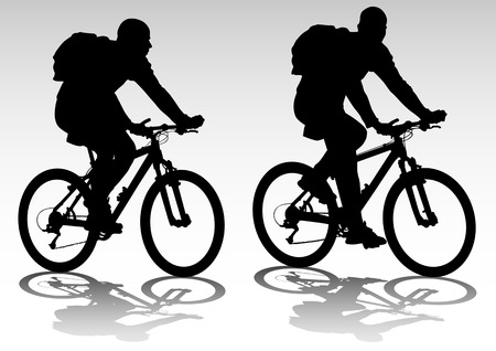 cycling: drawing bicycle races leisure. Silhouette of sports people