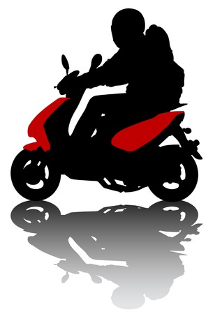 drawing kid on scooter. Silhouette on white background Vector