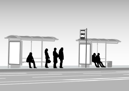 drawing crowds at public transport stop Stock Vector - 6995388