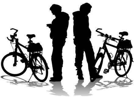 drawing silhouettes cyclists on rest. Silhouette on white background Vector
